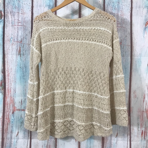 Knox Rose Sweaters - 💎 Knox Rose Lace Knit Striped Sweater Tan/White M